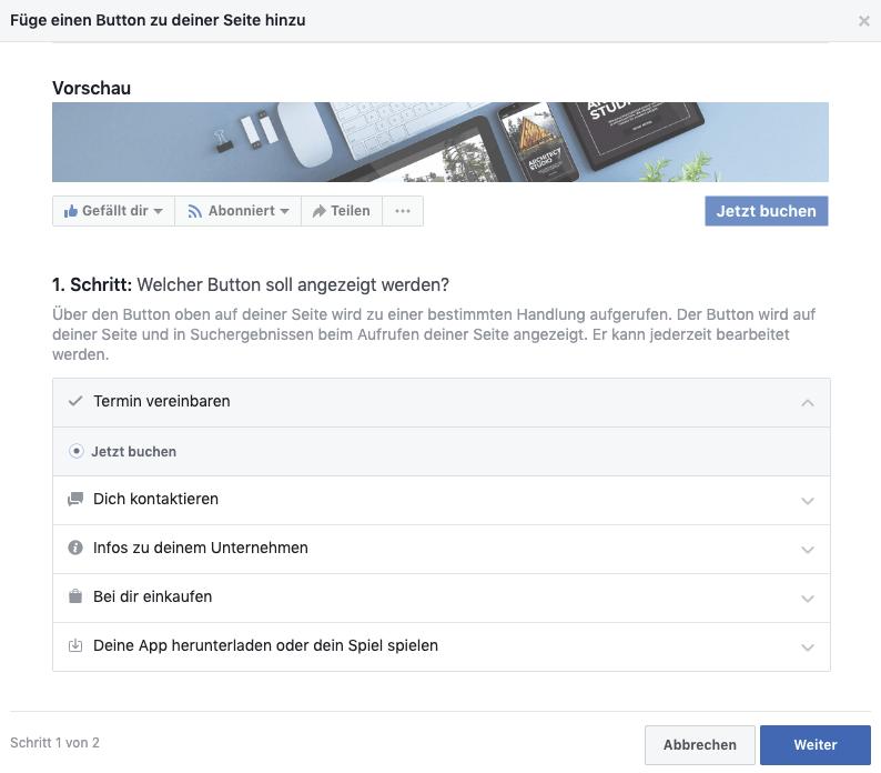 Online-Terminbuchung über Facebook - Schritt 1