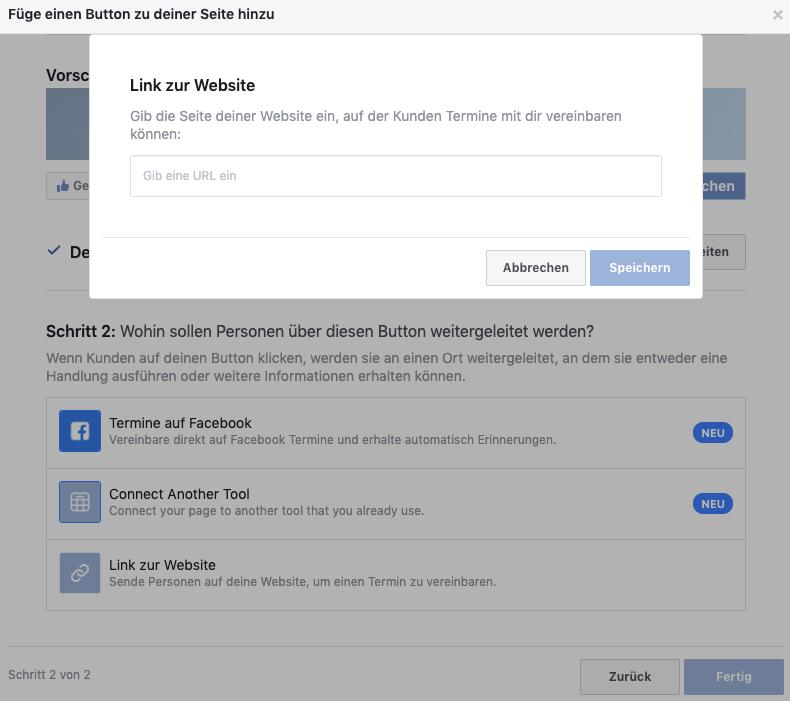 Online-Terminbuchung über Facebook - Schritt 2