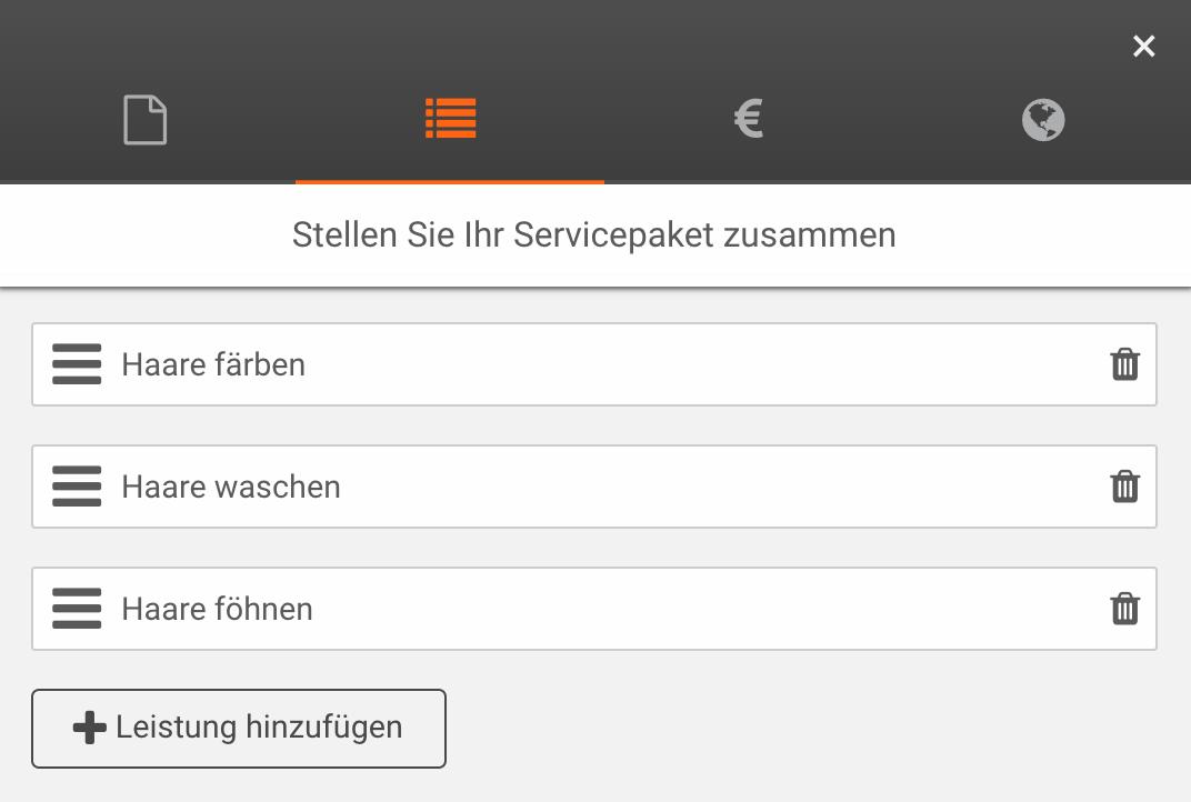 Leistungen zum Servicepaket hinzufügen