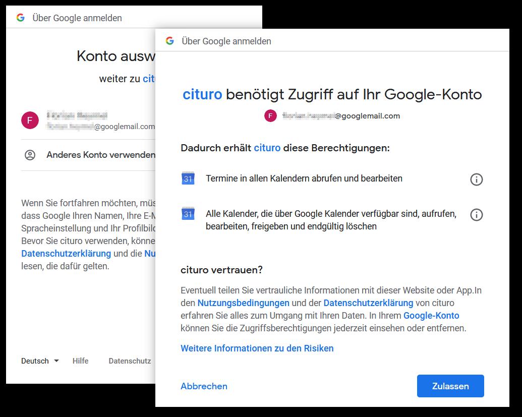 Google Kalender verbinden