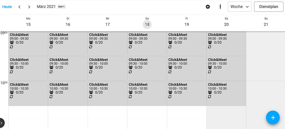 Kalenderansicht Click&Meet