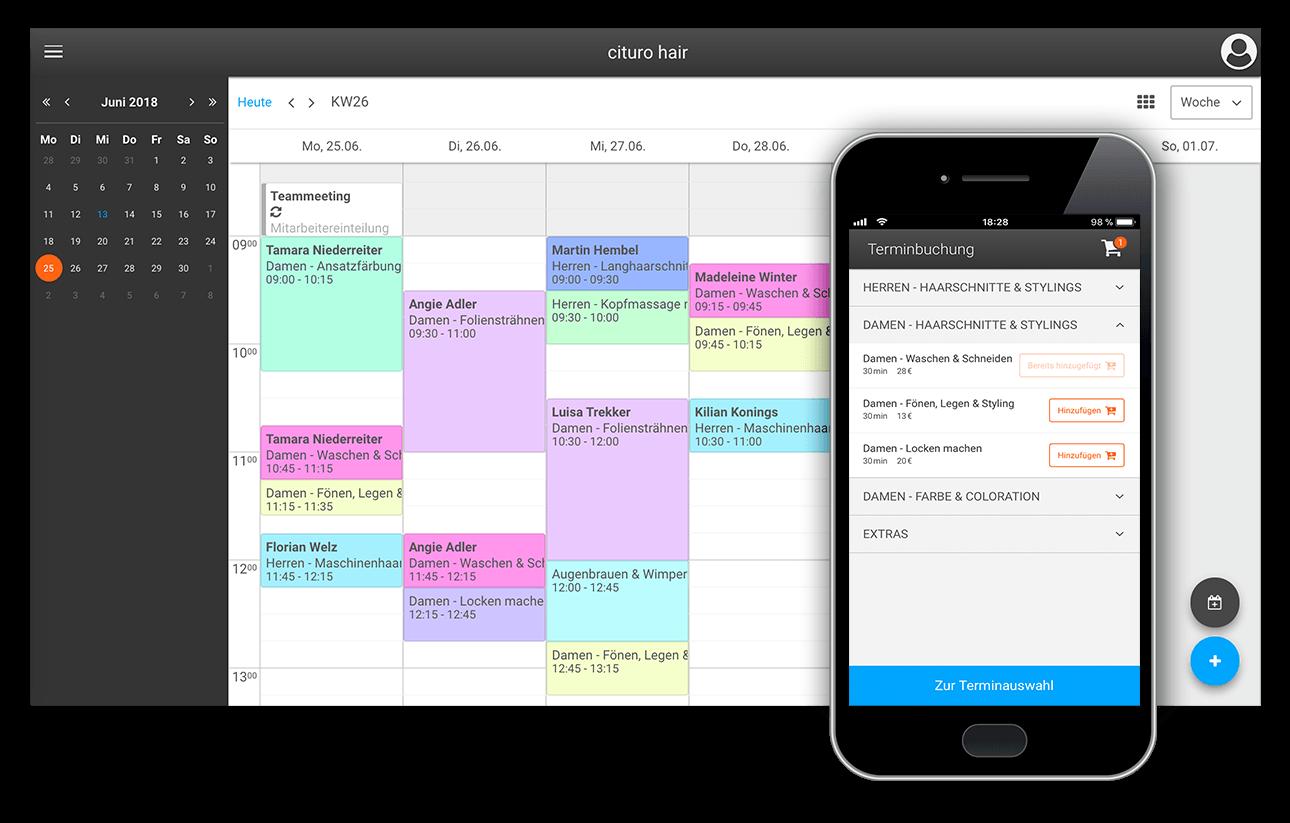 Online-Terminbuchung und Online-Terminkalender unserer Friseur-Software