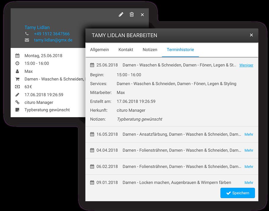 Unserer Online-Terminkalender ist direkt mit der Kundenverwaltung von cituro verknüpft