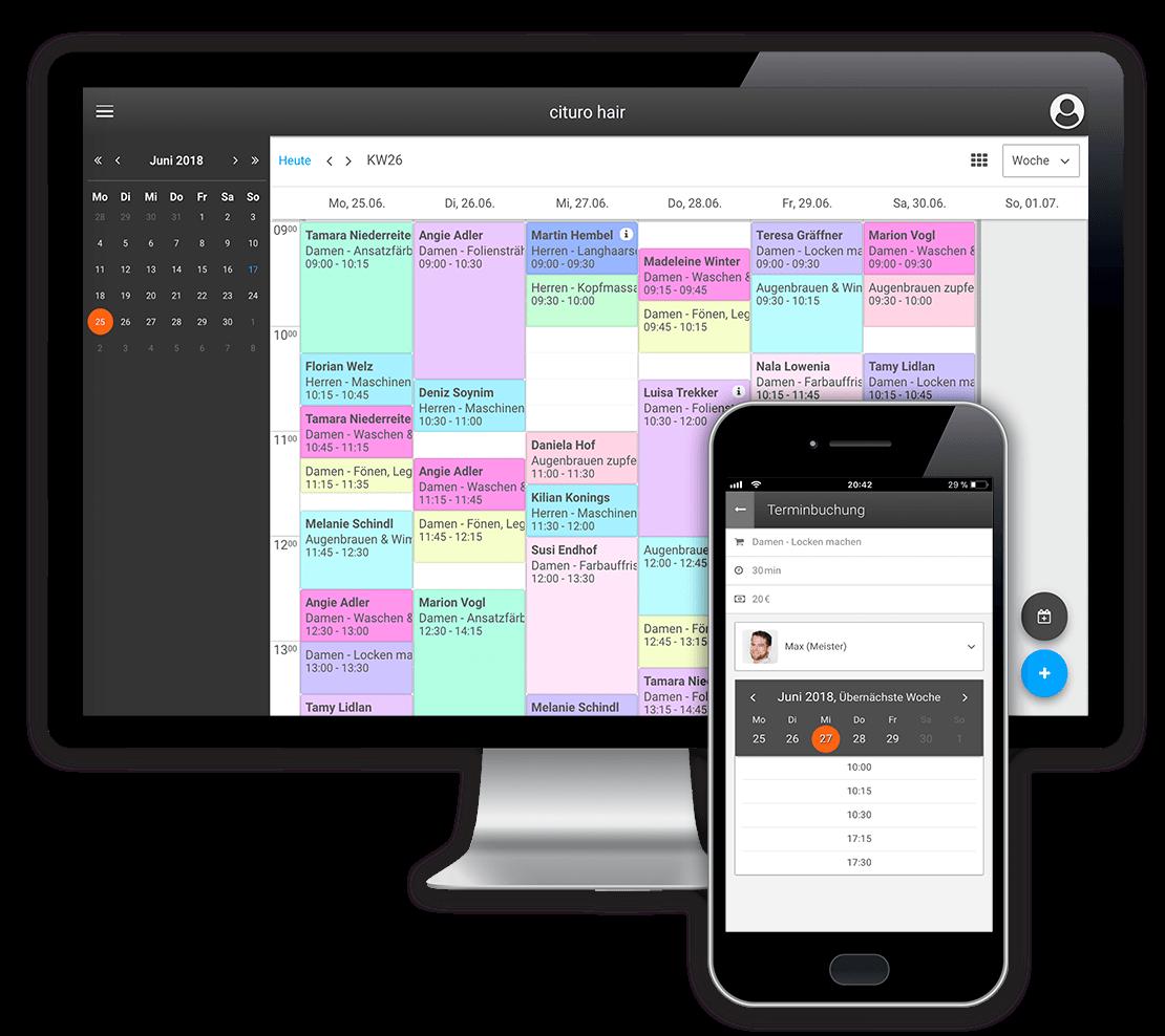 Die Online-Terminbuchung unseres Buchungssystems ist direkt mit Ihrem Terminkalender verknüpft