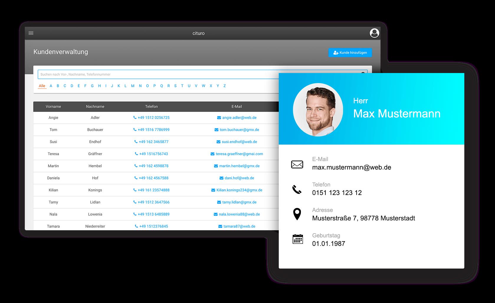 Einfache Kundenverwaltung mit unserer Studio-Software