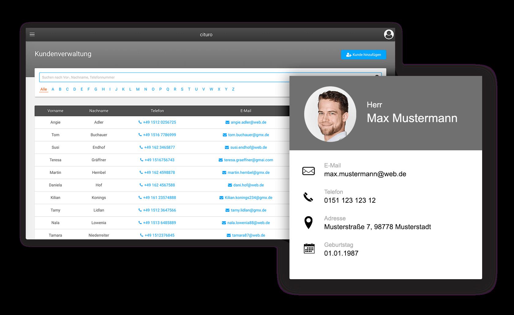 Einfache Kundenverwaltung mit unserer Software für Berater und Coaches