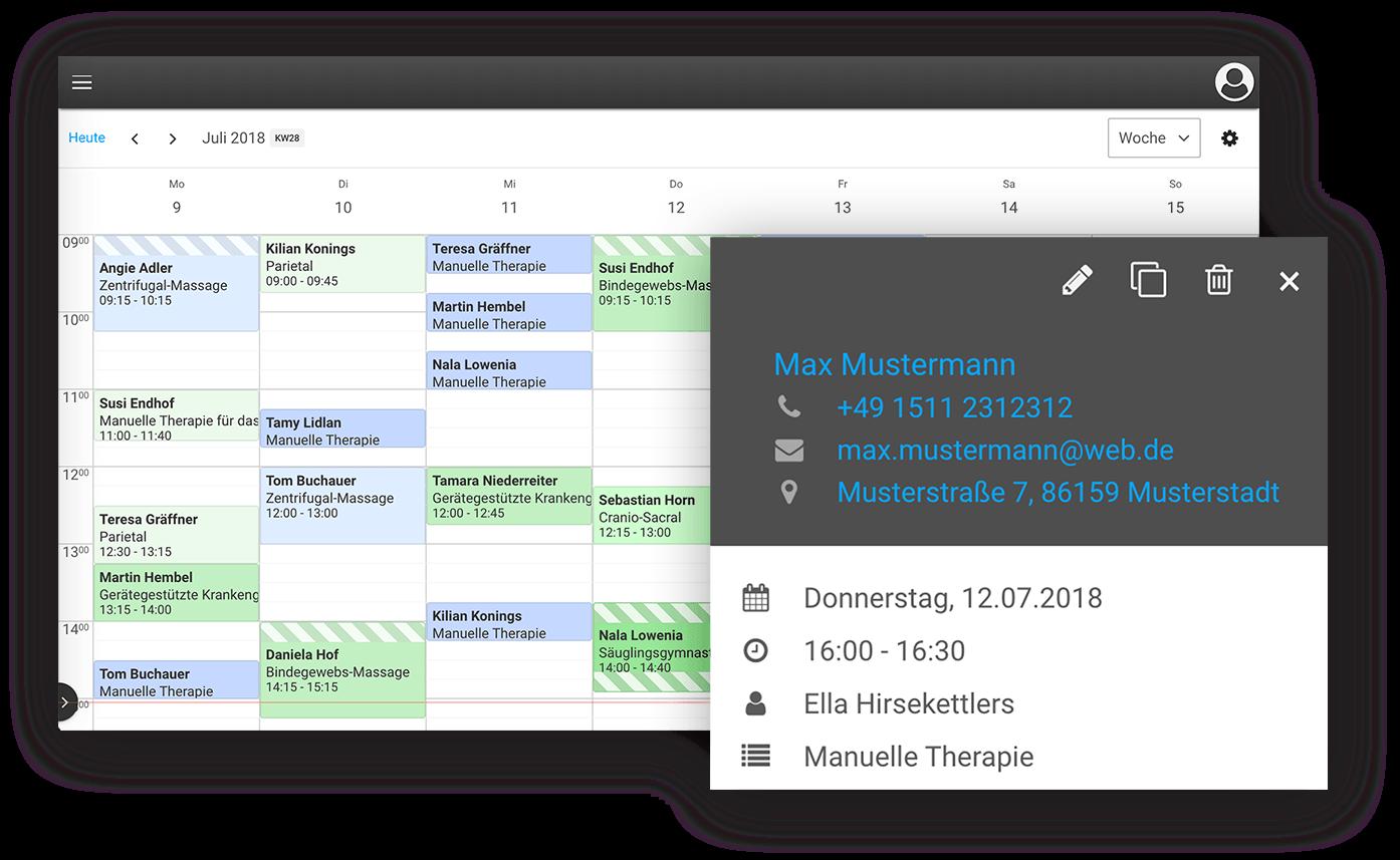 Der übersichtliche Online-Kalender unserer Praxis-Software