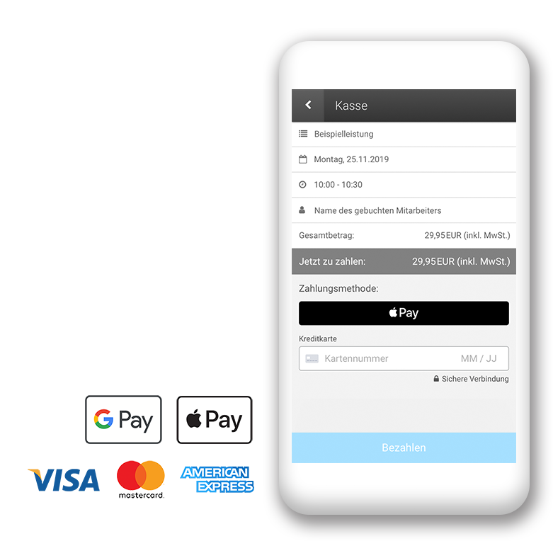 Komfortable Online-Bezahlung per Kreditkarte, Apple Pay und Google Pay direkt bei der Onlinebuchung