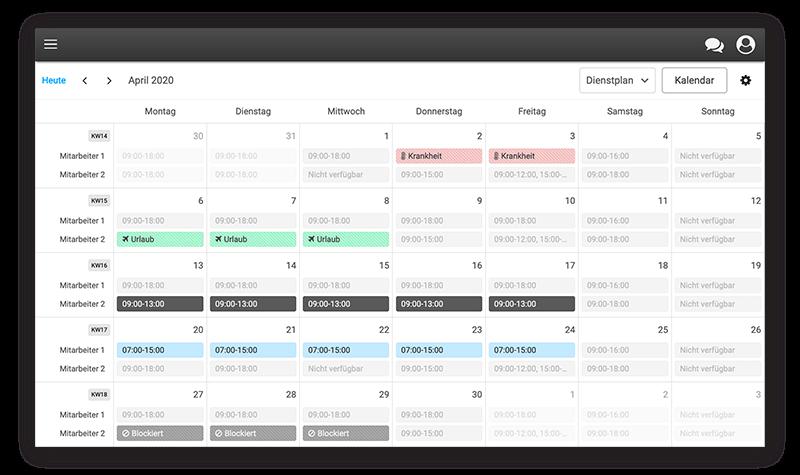 Der digitale Dienstplan erlaubt eine flexbile Gestaltung der Arbeitszeiten Ihres Teams