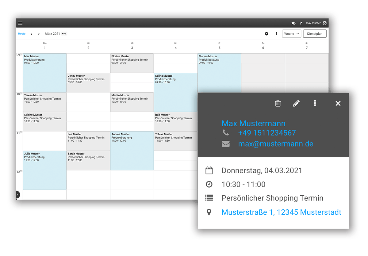 Überblick der gebuchten Shopping Termine im Kalender