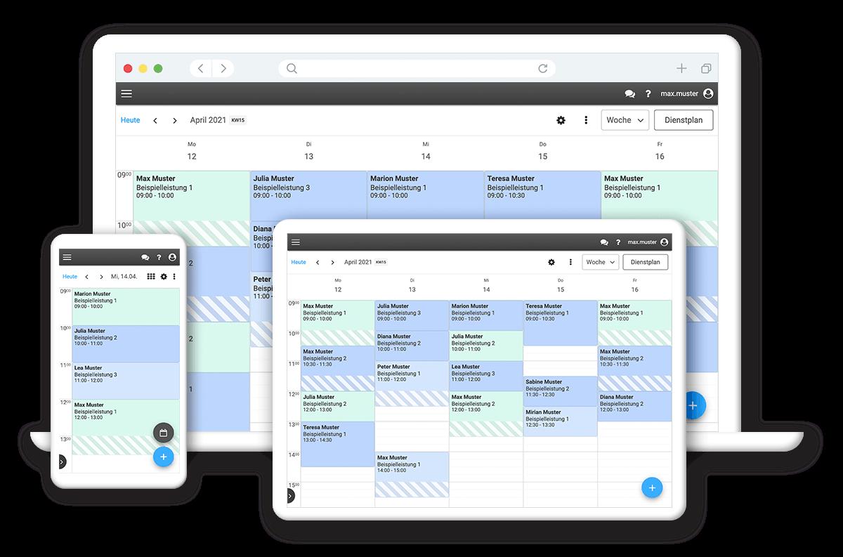 Übersichtlicher Online-Terminkalender für alle Endgeräte