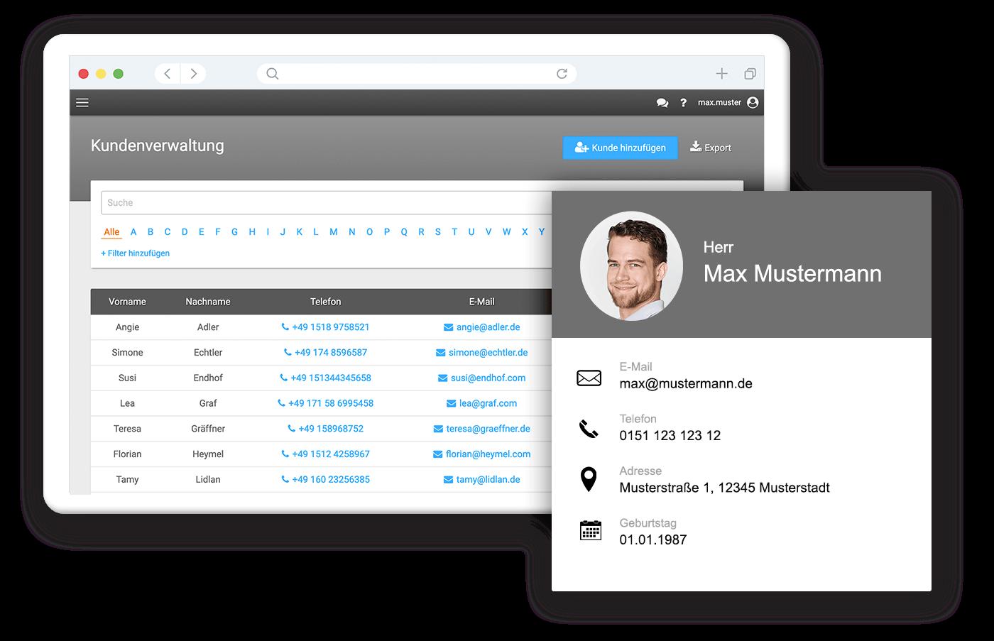 Einfache Kundenverwaltung mit unserer Software für Unternehmen
